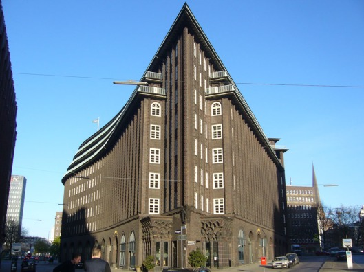 Chilehaus, a famous jugend building and landmark of Hamburg. It was completed in 1924 and is remaining a ship from this angle