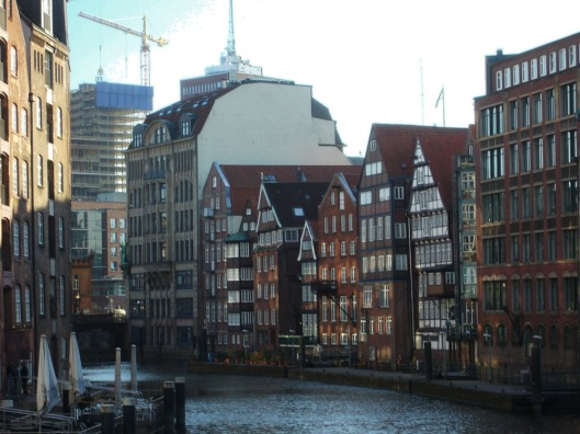 Historic half-timbered houses at Nikolaifleet canal.
