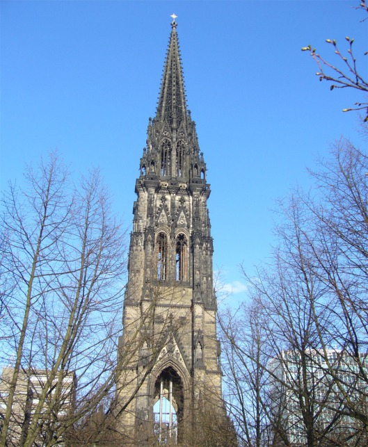 The church was the world's tallest building from 1874-76 and is still the tallest building in Hamburg.